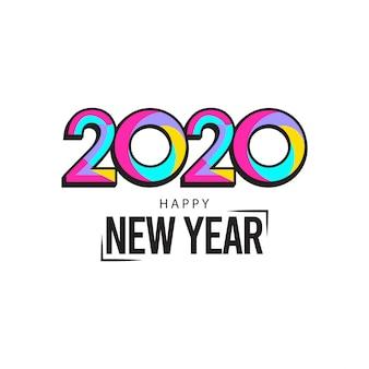 Cartolina d'auguri di felice anno nuovo 2020 con design colorato