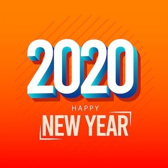 Cartolina d'auguri di felice anno nuovo 2020 con effetto 3d