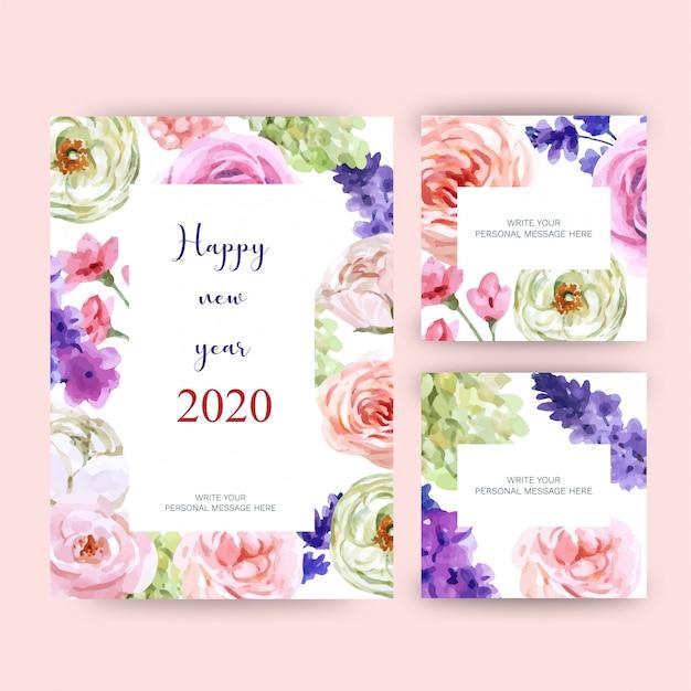 Cartolina d'auguri di felice anno nuovo 2020 con tema floreale