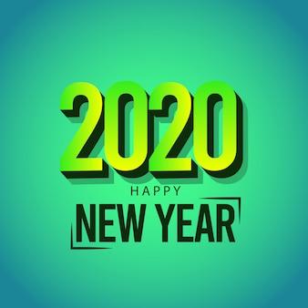 Cartolina d'auguri di felice anno nuovo 2020 su colore verde
