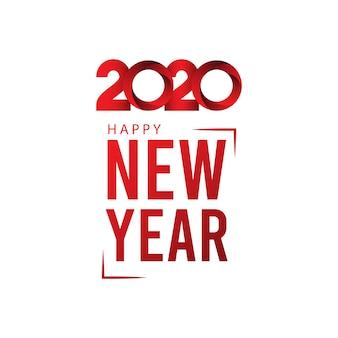 Cartolina d'auguri di felice anno nuovo 2020 sul colore rosso sfumato