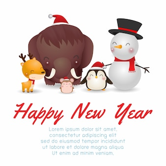 Cartolina d'auguri di felice anno nuovo carattere di simpatici animali di natale. mammut, pinguino, renna, ratto, pupazzo di neve
