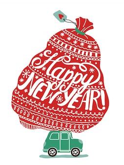 Cartolina d'auguri di felice anno nuovo con auto con borsa piena di regali di natale