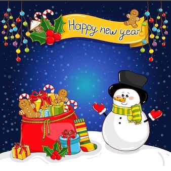 Cartolina d'auguri di felice anno nuovo con babbo natale
