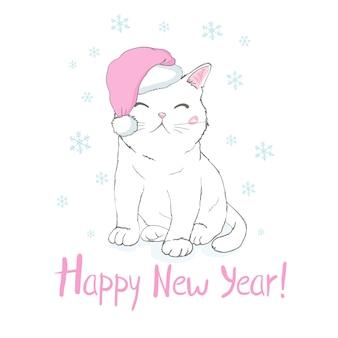 Cartolina d'auguri di felice anno nuovo con la faccia di gatto divertente carino in cappello di babbo natale