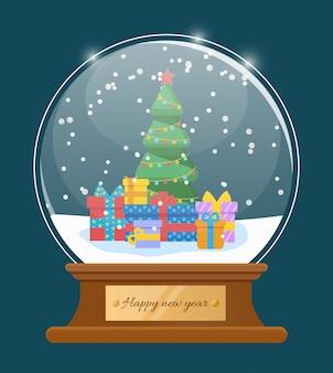 Cartolina d'auguri di felice anno nuovo, vettore di palla di neve