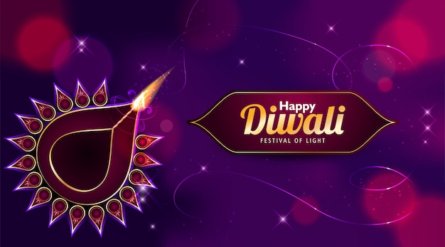 Cartolina d'auguri di felice diwali con uno sfondo viola scuro ed effetto bokeh