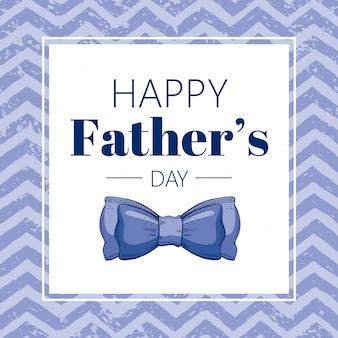 Cartolina d'auguri di felice festa del papà con cravatta a farfalla blu. stile doodle schizzo.
