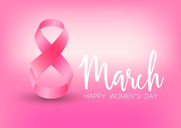 Cartolina d'auguri di felice festa della donna con nastro rosa