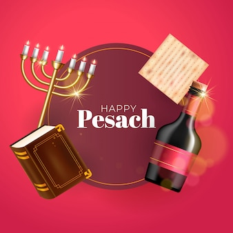 Cartolina d'auguri di felice festa di pasqua con bicchiere di vino, matzah, menorah e torah