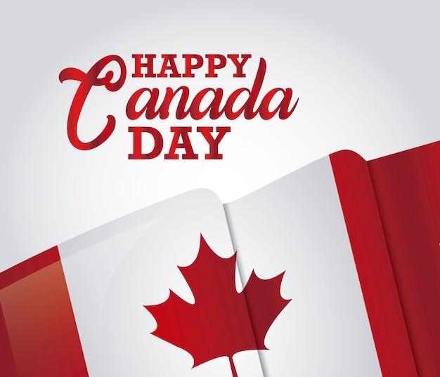 Cartolina d'auguri di felice giorno canada con bandiera