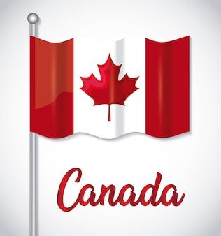Cartolina d'auguri di felice giorno del canada con bandiera