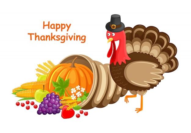 Cartolina d'auguri di felice giorno del ringraziamento con la turchia