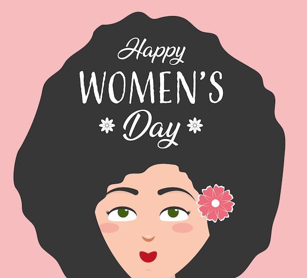 Cartolina d'auguri di felice giorno delle donne, donna con lunghi capelli afro e fiori