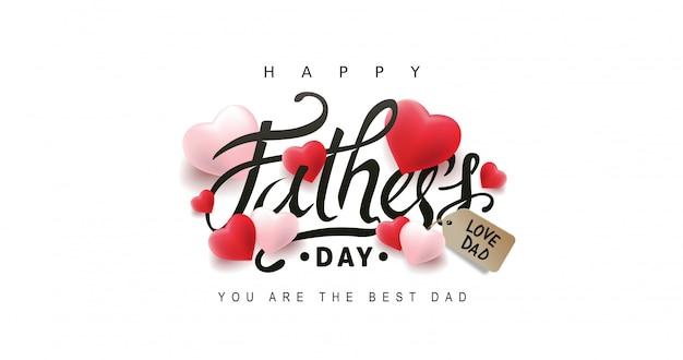 Cartolina d'auguri di felice giorno di padri con sfondo di cuore.