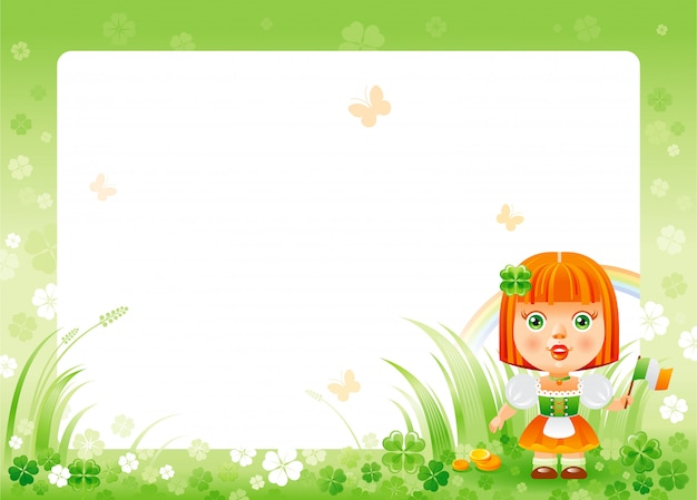 Cartolina d'auguri di felice giorno di san patrizio con cornice di trifoglio verde trifoglio, arcobaleno e ragazza carina in costume nazionale irlandese.