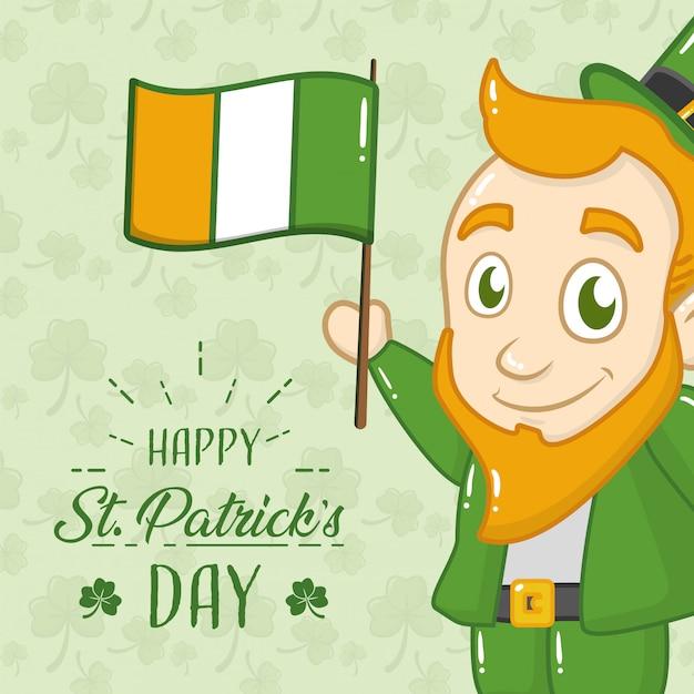 Cartolina d'auguri di felice giorno di san patrizio, leprechaun con bandiera irlanda