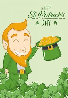 Cartolina d'auguri di felice giorno di san patrizio, leprechaun con monete nel suo cappello