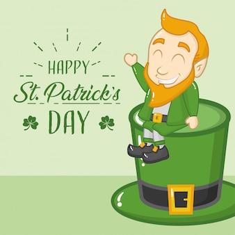 Cartolina d'auguri di felice giorno di san patrizio, leprechaun in cappello verde