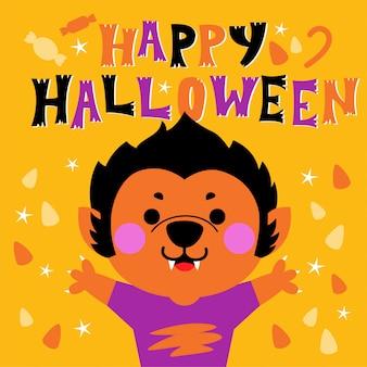 Cartolina d'auguri di felice halloween con simpatico personaggio lupo mannaro
