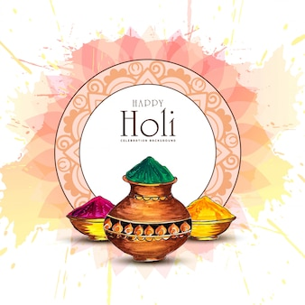 Cartolina d'auguri di felice holi festival di primavera indiana di colori