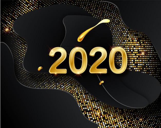Cartolina d'auguri di felice nuovo anno 2020 con numeri dorati sul nero