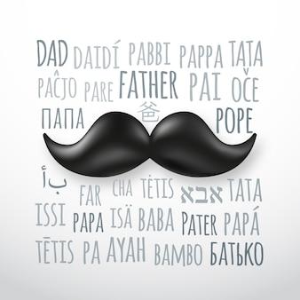 Cartolina d'auguri di festa del papà felice con i baffi retrò.