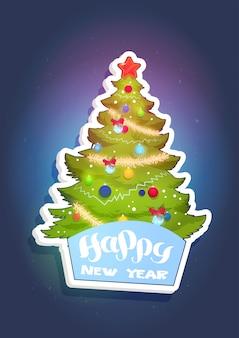 Cartolina d'auguri di festa di concetto di felice anno nuovo adesivo albero di natale