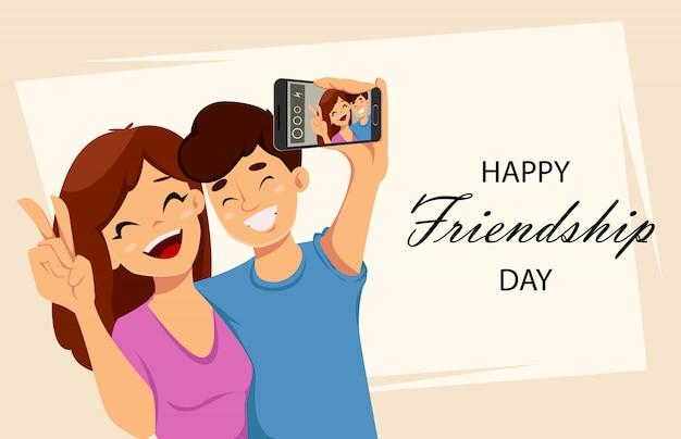 Cartolina d'auguri di giorno felice amicizia