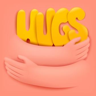 Cartolina d'auguri di giorno internazionale di vacanza che abbraccia con il titolo di abbracci