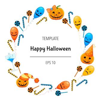 Cartolina d'auguri di halloween con cornice di attributi tradizionali. stile cartone animato.