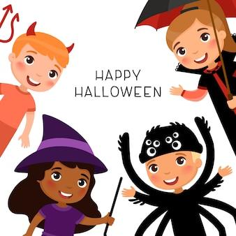 Cartolina d'auguri di halloween felice con i bambini in costumi di mostri spettrali. personaggi dei cartoni animati di vampiri, demoni, streghe e ragni.