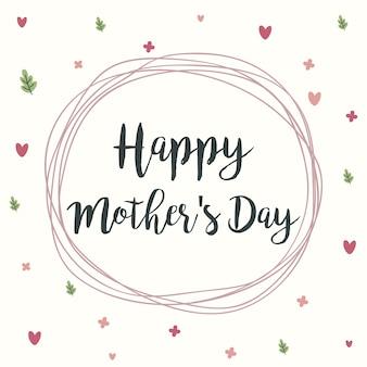 Cartolina d'auguri di happy mothers day per la festa della mamma. calligrafia d'epoca