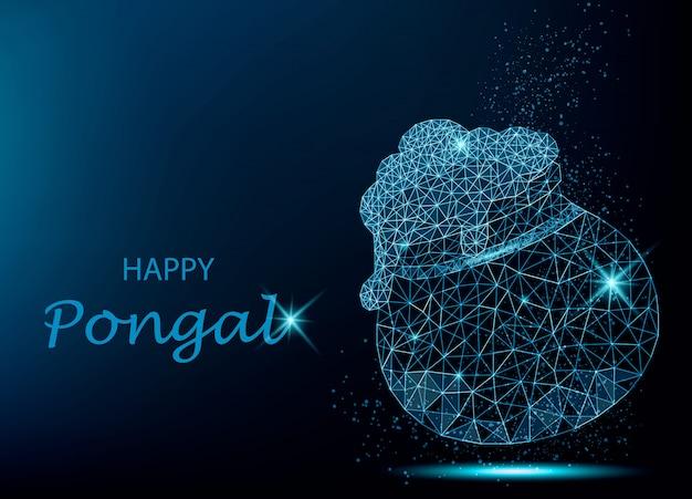 Cartolina d'auguri di happy pongal con vaso poligonale