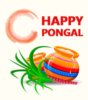 Cartolina d'auguri di happy pongal