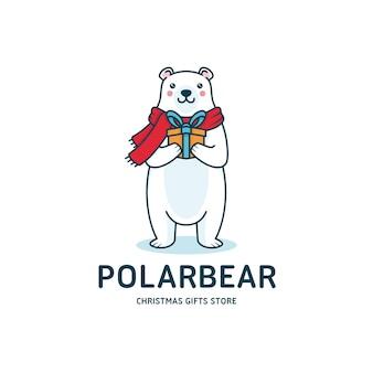 Cartolina d'auguri di natale dell'orso polare