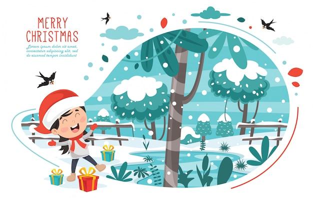 Cartolina d'auguri di natale design con personaggi dei cartoni animati