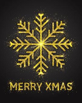 Cartolina d'auguri di natale scintillante scintillio dorato scintillante fiocco di neve