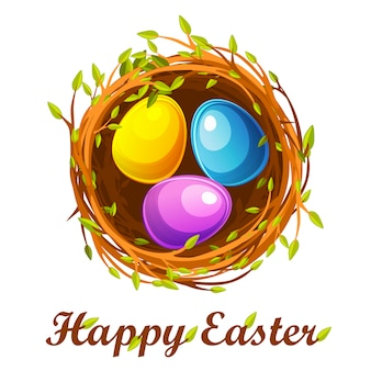 Cartolina d'auguri di pasqua, nido di uccello e uova di colore