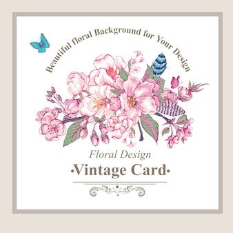 Cartolina d'auguri di primavera giardino d'epoca