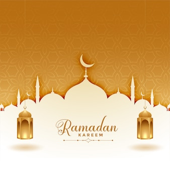 Cartolina d'auguri di ramadan kareem con moschea e lanterne