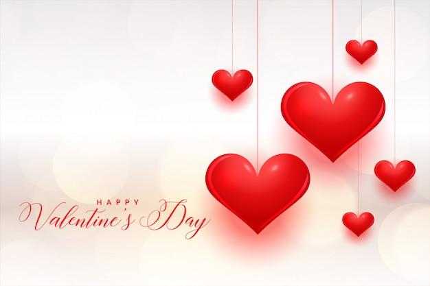 Cartolina d'auguri di san valentino cuori rossi fantastici