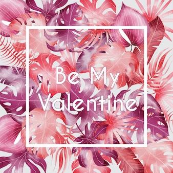 Cartolina d'auguri di san valentino dell'acquerello con foglie di rosa tropicale
