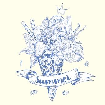 Cartolina d'auguri disegnata a mano con un cocktail fruttato nel cono della cialda
