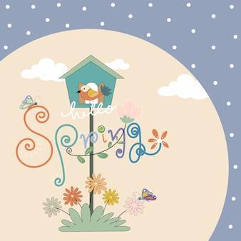 Cartolina d'auguri disegnata a mano della molla del fumetto sveglio con l'iscrizione della molla del fiore, della casa dell'uccello e della molla gialla