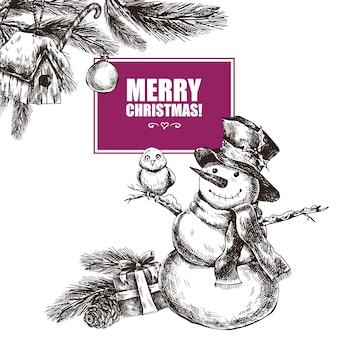 Cartolina d'auguri disegnata a mano di inverno con elementi di natale