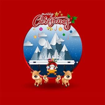 Cartolina d'auguri divertente di natale, con santa claus, i cervi, il pupazzo di neve e il pinguino, illustrazione di vettore.