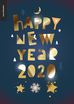 Cartolina d'auguri dorata di felice anno nuovo 2020
