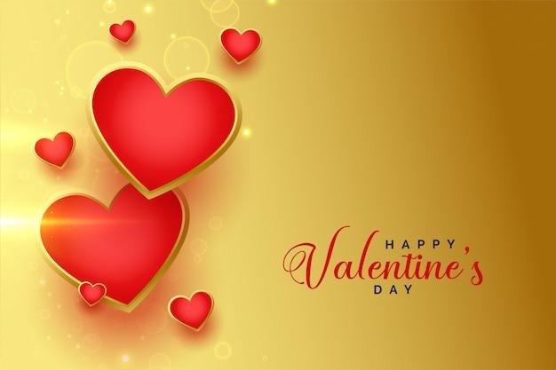 Cartolina d'auguri dorata felice dei cuori di san valentino
