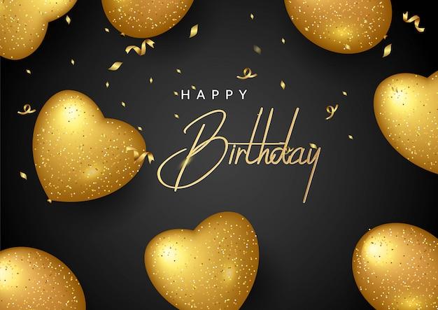 Cartolina d'auguri elegante di compleanno di vettore con palloncini d'oro e coriandoli che cadono